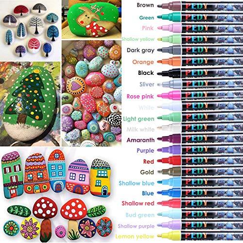 PEDY Steine Bemalen Stifte, Permanent Marker Stifte inkl. 22 Farben, wasserfest und schnelltrocknend für DIY, Steine, Glas, Papier, Kleider und Weihnachtskarte