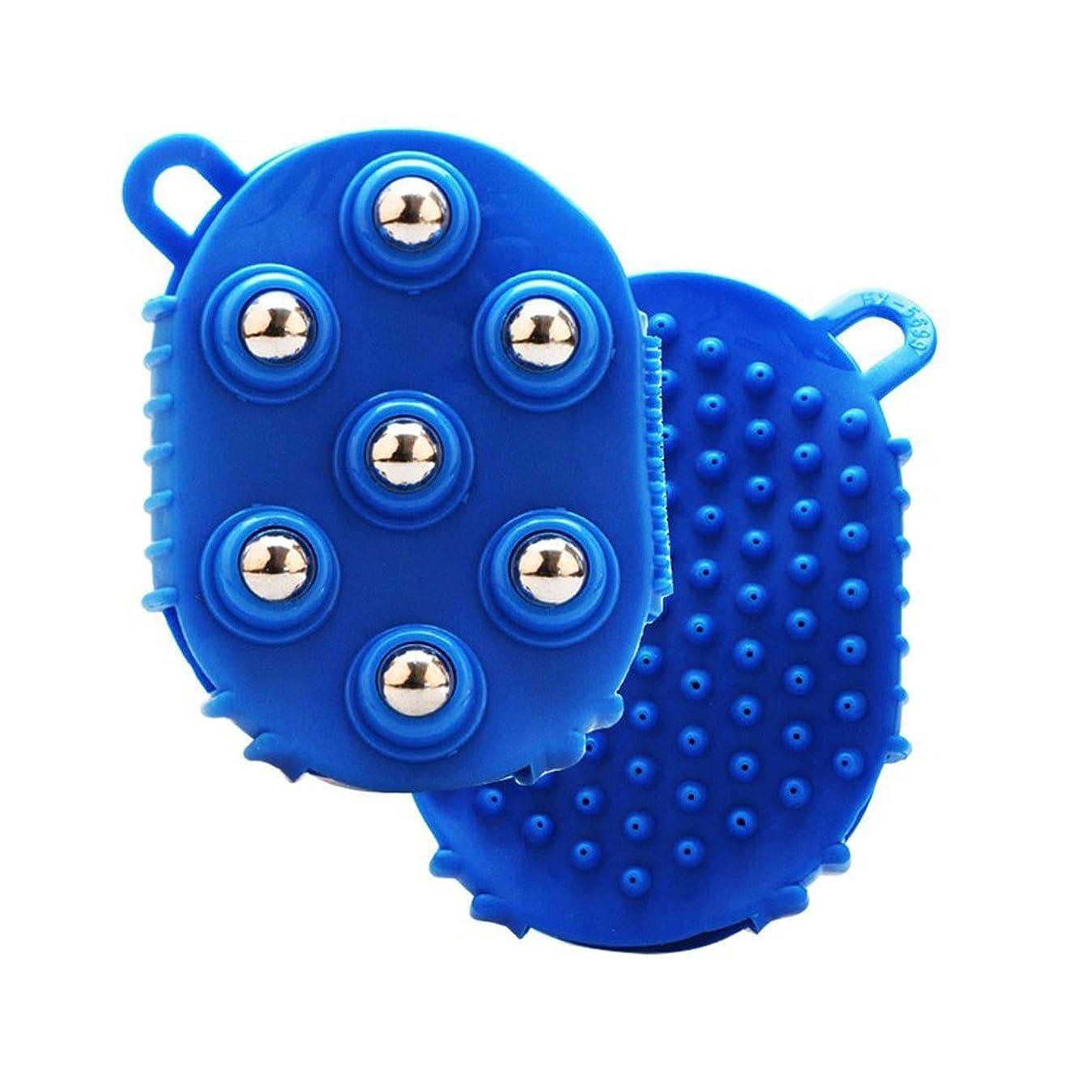 ほとんどの場合発信行為HEALLILY 手のひら型マッサージグローブマッサージバスブラシ7本付きメタルローラーボールハンドヘルドボディマッサージ用痛み筋肉筋肉痛セルライト(青)