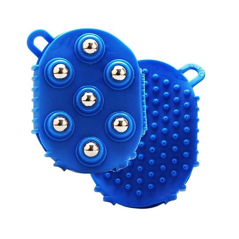 仕出します鉛知覚ULTNICE マッサージブラシ グローブバスブラシ 金属ローリングボール 痛みの筋肉の痛みを軽減する(青)