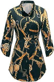 Women's Shirt Stand Collar Print Long Sleeve Lightweight Colorblock Shirt Dress (Color : Green, Size : 6XL)