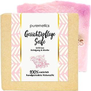 puremetics Zero Waste reinigende Gesichtspflege-SeifeWildrose | 100% natürlich, vegan & plastikfrei | Handgesiedete Naturseife | straffende Seife für sensible & trockene Haut