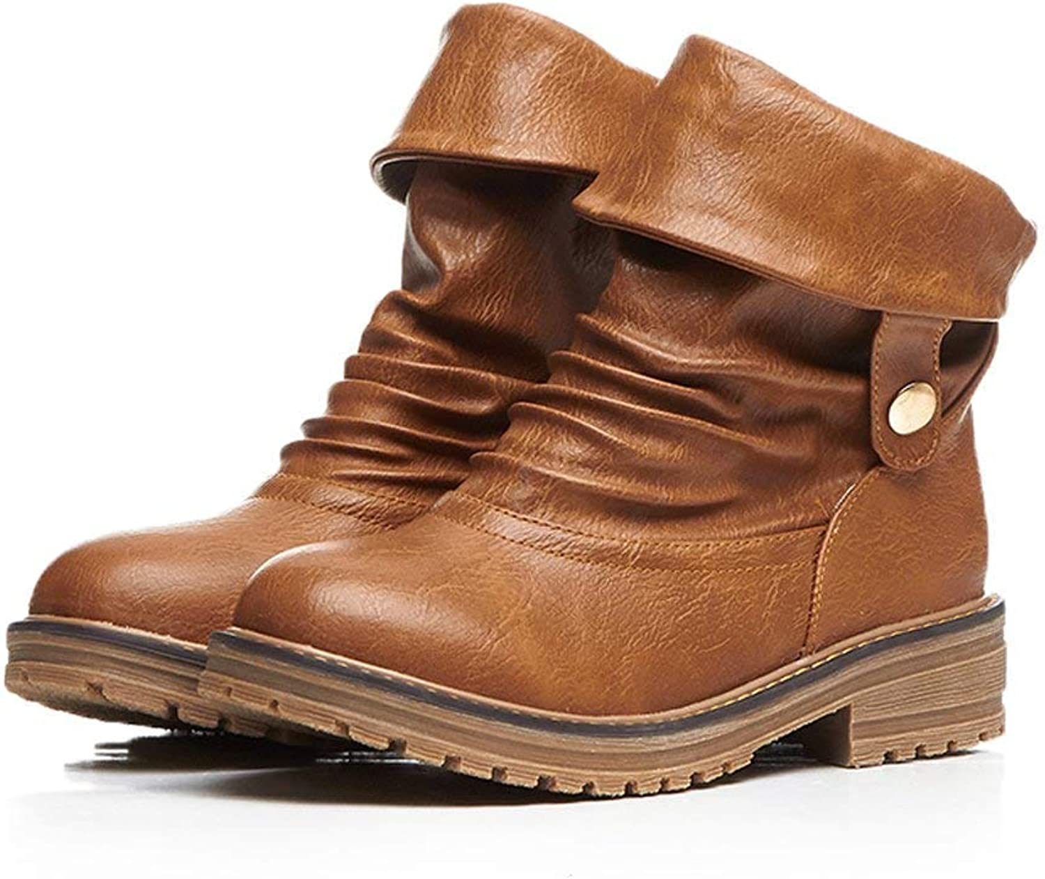 Edv0d2v266 Women's Motorcycle Boots Fashion Foldable Winter Low Heel Faux Leather Ankle Bootie