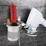 Surplex Support pour Sèche-Cheveux, Seche Sechoir Titulaire Aluminium Mural Forme de Ressort en Spirale avec Support Fer à Lisser, Rangement Organisateur de Salle de Bain Tasse cylindrique