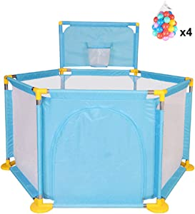 Baby Playpen Fence Foldable Babies Ball Pits Activity Center Safety 6-Panel  with 200 Balls  4-Colors