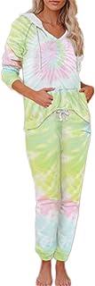 ZXJ Conjuntos de Desgaste de la Mujer salón, Damas Suaves con Capucha, Ropa de Dormir de 2 Piezas, Pijamas degradados Pantalones de Manga Larga con Capucha Conjunto de hogar de Punto,Amarillo,XL