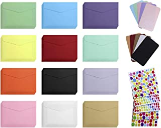 Mini Envelope with Cards 60Pcs Color Mini Gift Card Envelope 60Pcs Business Blank Color Mini Notes Cards with 6Pcs Color Heart Dot Star Stickers for Christmas Wedding Birthday Party (Envelope + Cards)