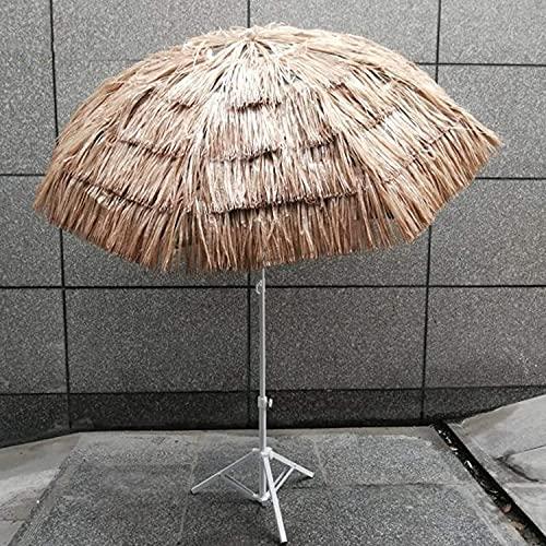 Parasol al Aire Libre, terraza de 5.9 pies con Techo de Paja Parasol de jardín, con función de inclinación, protección UV de Doble Uso, Patio de protección Solar de Ocio, Paraguas