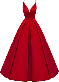 Lemai Women's Backless Deep V Neck Simple Long A Line Prom Gowns Evening Dress