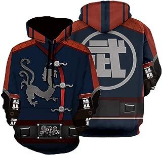 Men Mortal Kombat Jacket Kung Lao Game Full Zip Up Hoody Coat Sweatshirts