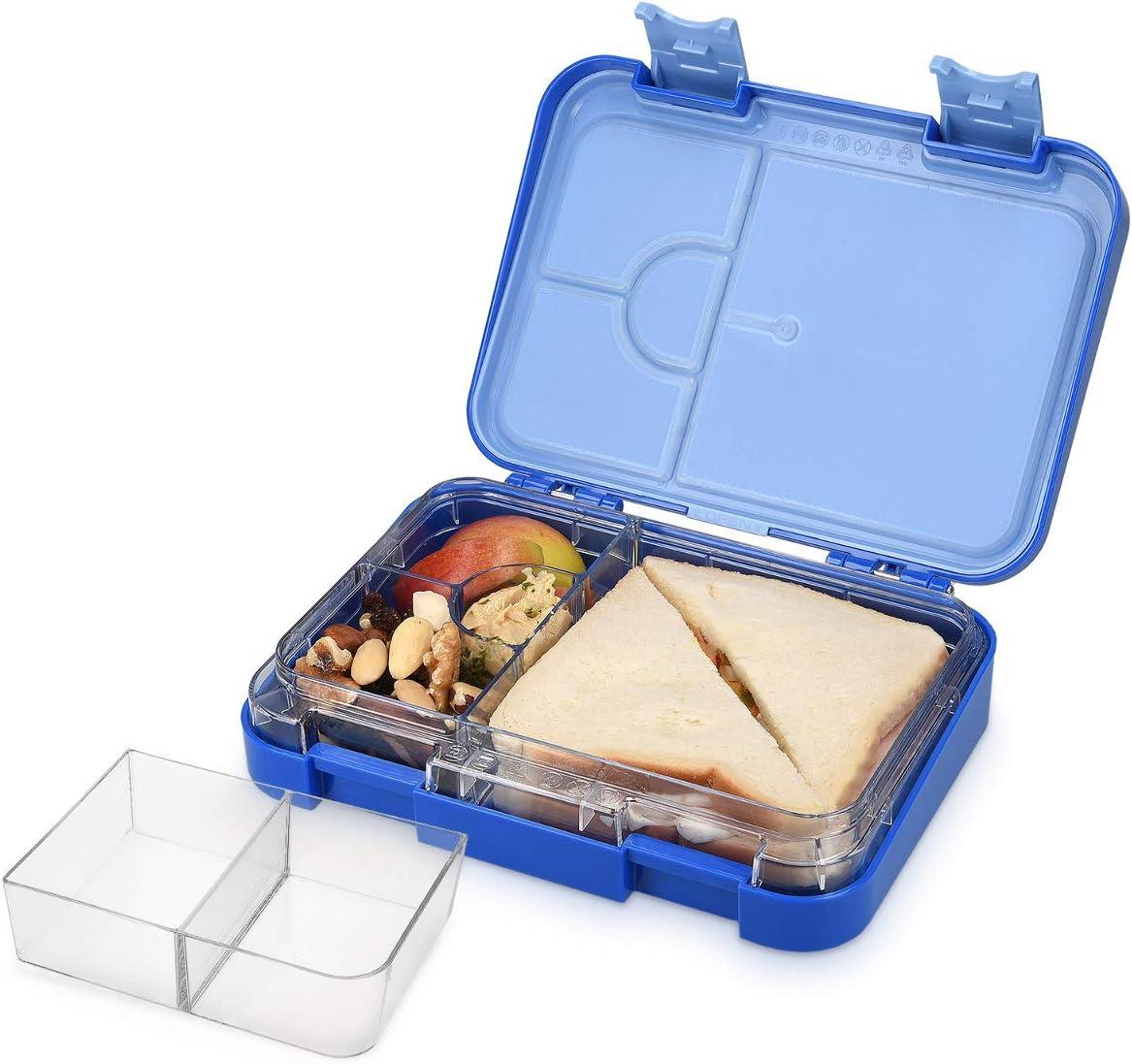 Navaris Bento Box Lunch Box Brotdose Vesperbox – auslaufsicher mit variablen Fächern – herausnehmbare Innenschale – für Jungs und Mädchen – violett