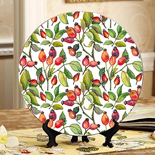 ALALAL Red Rosehips Berries Superlatite and trust Decorating Green Plates Leaves D