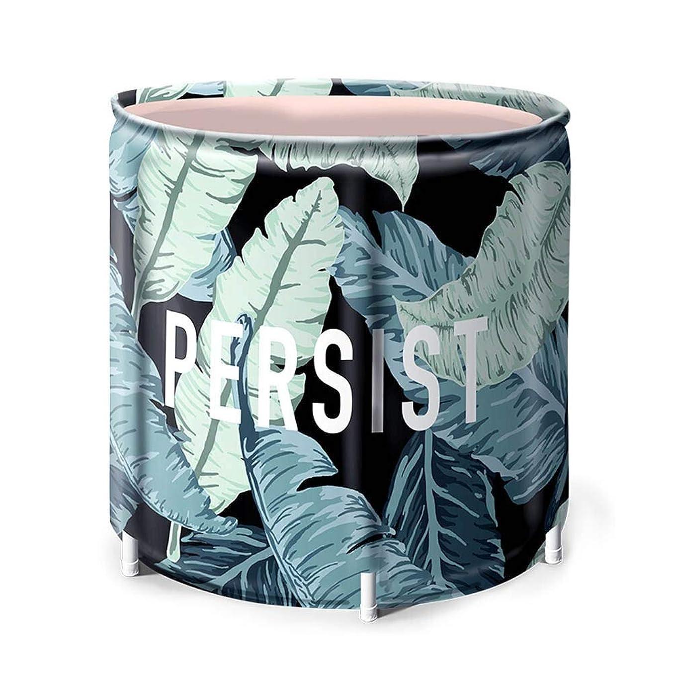 組み合わせる夜間寛容なポータブルバスタブ 大人と子供のポータブルかつ簡単に店工場パターンの折り畳み式バスバレル 浴槽?バスタブ (色 : 緑, サイズ : 65x70cm)