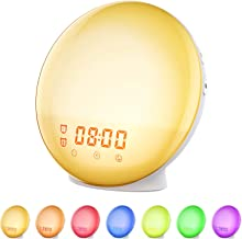 Wake Up Light Sunrise Alarm Clock, Vproof Bedside Night Light, 7 Colors Ambient Lamp, Dual Clock with FM Radio, Sunrise Sunset Simulation, Snooze Function for Kids, Adults, Heavy Sleepers