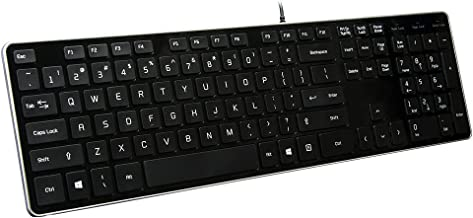 BFRIENDit Wired USB Keyboard , Comfortable Quiet Chocolate Keys , Durable Ultra-Slim Wired Computer Keyboard For PC , Windows 10 / 8 / 7 / Vista , KB1430 - Black
