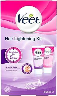 Veet - Crema para aclarar el cabello para rostro y cuerpo, 2 x 75 ml