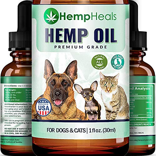 HempHeals Hemp Oil for Dogs & Cats Full Spectrum Hemp Oil Extract Calming Anxiety Relief for Dogs & Pets Natural Hip & Joint Supplement - Organic Pet Vitamins - Reduces Pain & Inflammation Hemp Oil