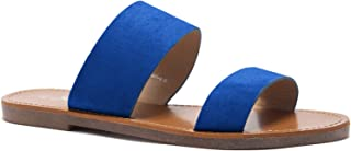 Herstyle Native Women's Open Toes Two-Strap Flat Sandals Classic Slip-On Slide Shoes
