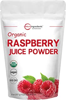Sustainably US Grown, Organic Freeze Dried Raspberry Juice Powder, 8 Ounce, Containers Immune Vitamin C for Immune System ...