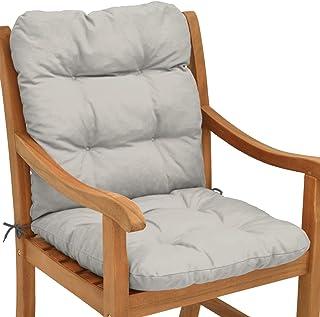 Beautissu Cojín para sillas de balcón Flair NL - Cojín para Asiento Exterior con Respaldo bajo - 100x50x8 cm - Relleno de Copos de gomaespuma - Gris Claro