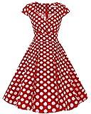 bbonlinedress 1950er Vintage Retro Cocktailkleid Rockabilly V-Ausschnitt Faltenrock Red White Big Dot L