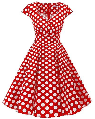 Bbonlinedress Vestido Corto Mujer Retro Años 50 Vintage Escote En Pico Red White Big Dot XS
