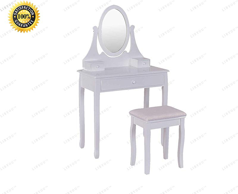 COLIBROX Dressing Table Set Vanity Wooden Makeup Table Set Dressing Table Stool Set Bathroom Mirror Vanity Table Stool Set Makeup Dressing Table Set Vanity Makeup Dressing Set Jewelry Wooden Table
