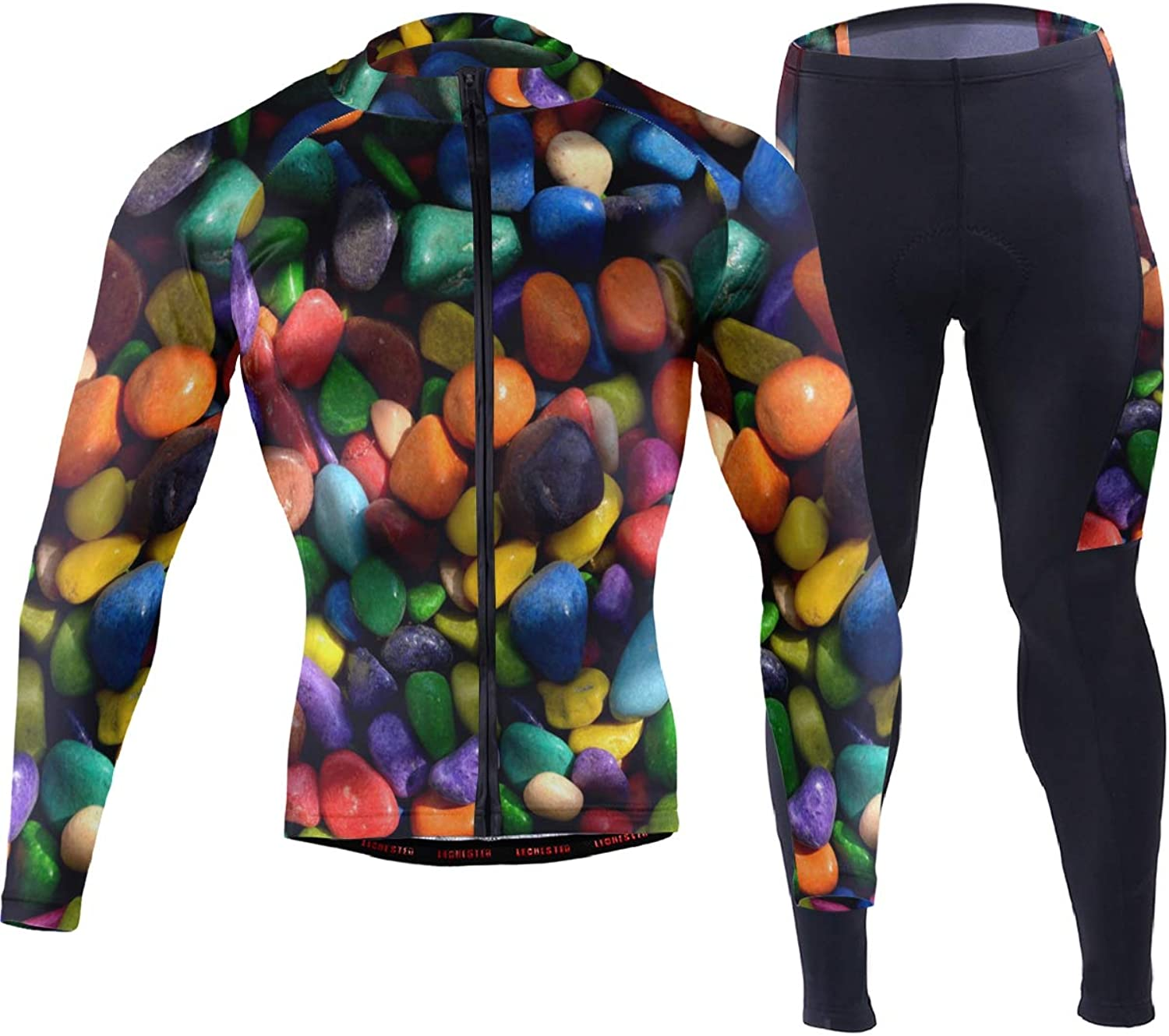 FAJRO colorful Rock Stones Sportswear Suit Bike Outfit Set Breathable Quick Dry 3D Padded Pants