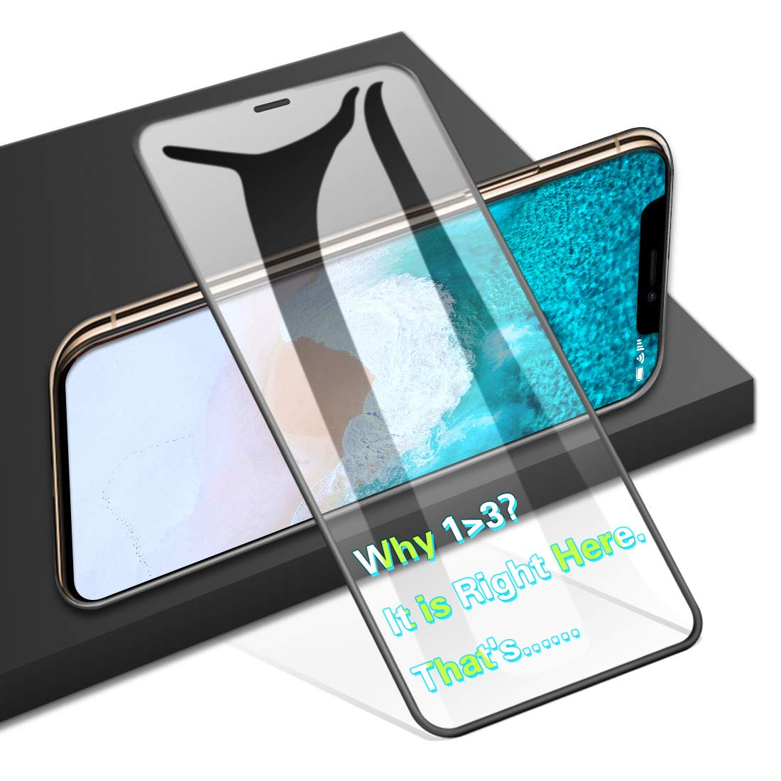 """AGVEE Full Coverage 3D Tempered Glass Screen Protector for Apple iPhone 11 Pro Max, XS-Max, Perfect Arc Fit, 9H, PC Edge Corner, i-Phone 6.5"""" (10-Plus 10s 10x 10xs max) Anti Fingerprint Saver Film"""