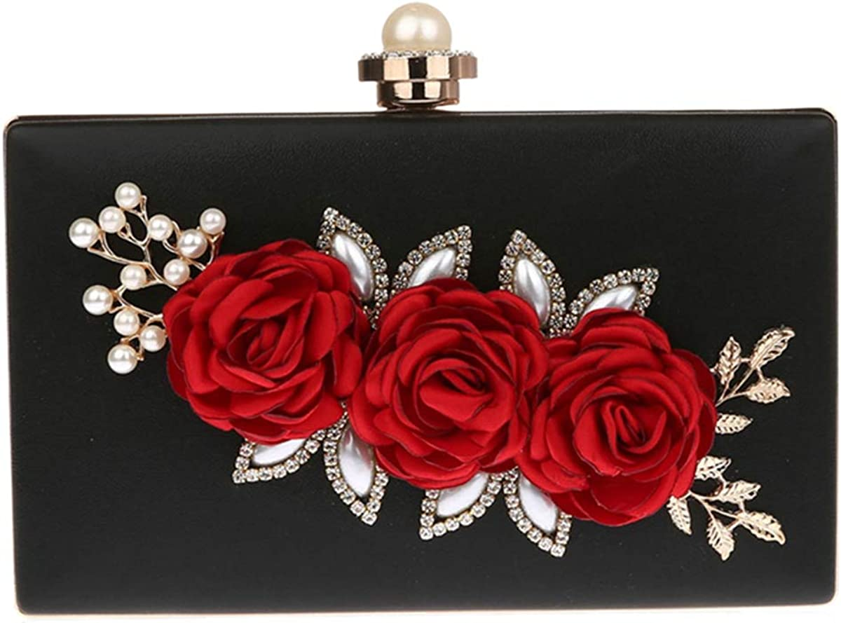 Female Roses Flowers Decorated Evening Bag