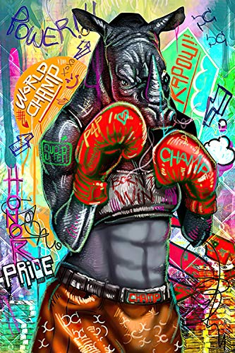 YWOHP Street Graffiti Art Animal Panda Bear Lienzo Pintura Mural Cartel impresión Sala de Estar Cuadro de Pared Cuadros-50X75