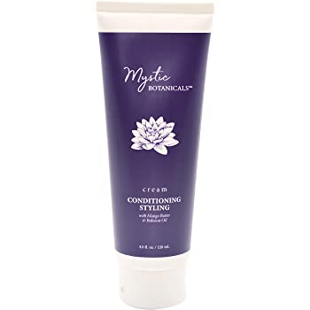 Mystic Botanicals Conditioning Styling Cream with mango Butter & Babassu Oil | Gives Smooth Sleek Frizz Free Hair & Enhance Curls | Paraben Free | 4 Fl. Oz