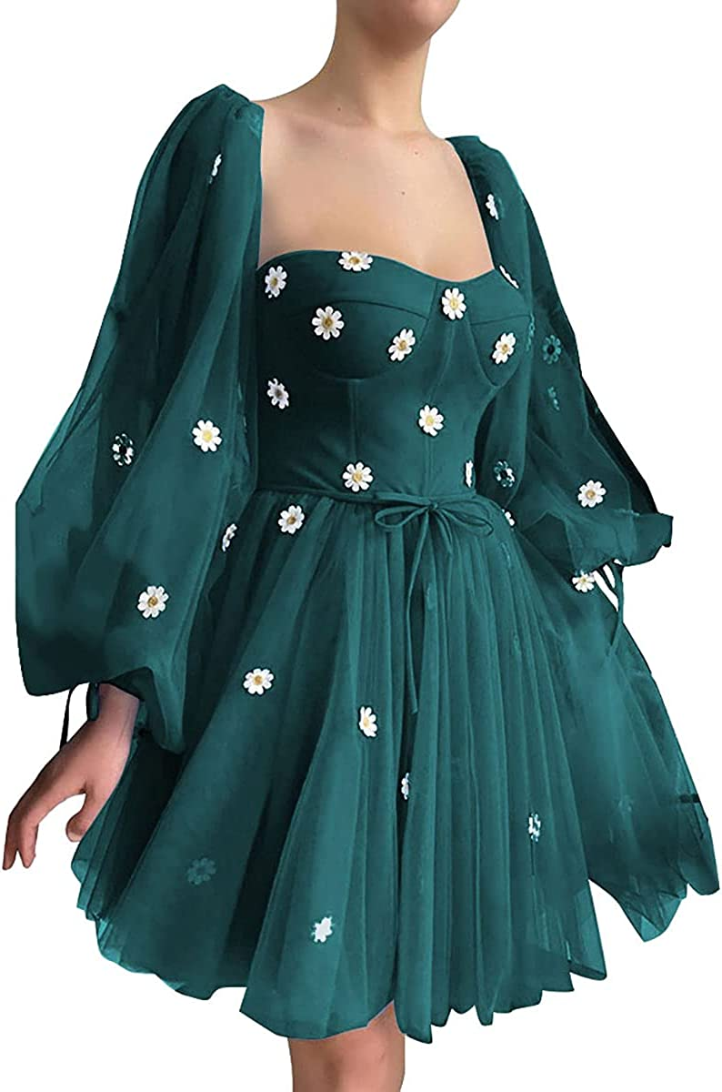 Tulle Sweetheart Long Puffy Sleeve Prom Dresses Short Homecoming Dress Princess Ball Gowns Sweet 16 Dresses