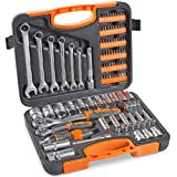 "<span class='highlight'><span class='highlight'>VonHaus</span></span> 104-Piece Screwdriver Tool Socket Set ¼ Inch & ½"" Inch Drive & 6pcs Combination Spanner, Ratchet Wrench with Carry Case - Useful for Home DIY: Plumbing, Mechanical, Electrical"