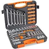 Juego de llaves de vaso VonHaus, 104 piezas, llaves de 1/2 y 1/4, 6 llaves combinadas, kit de herramientas automático