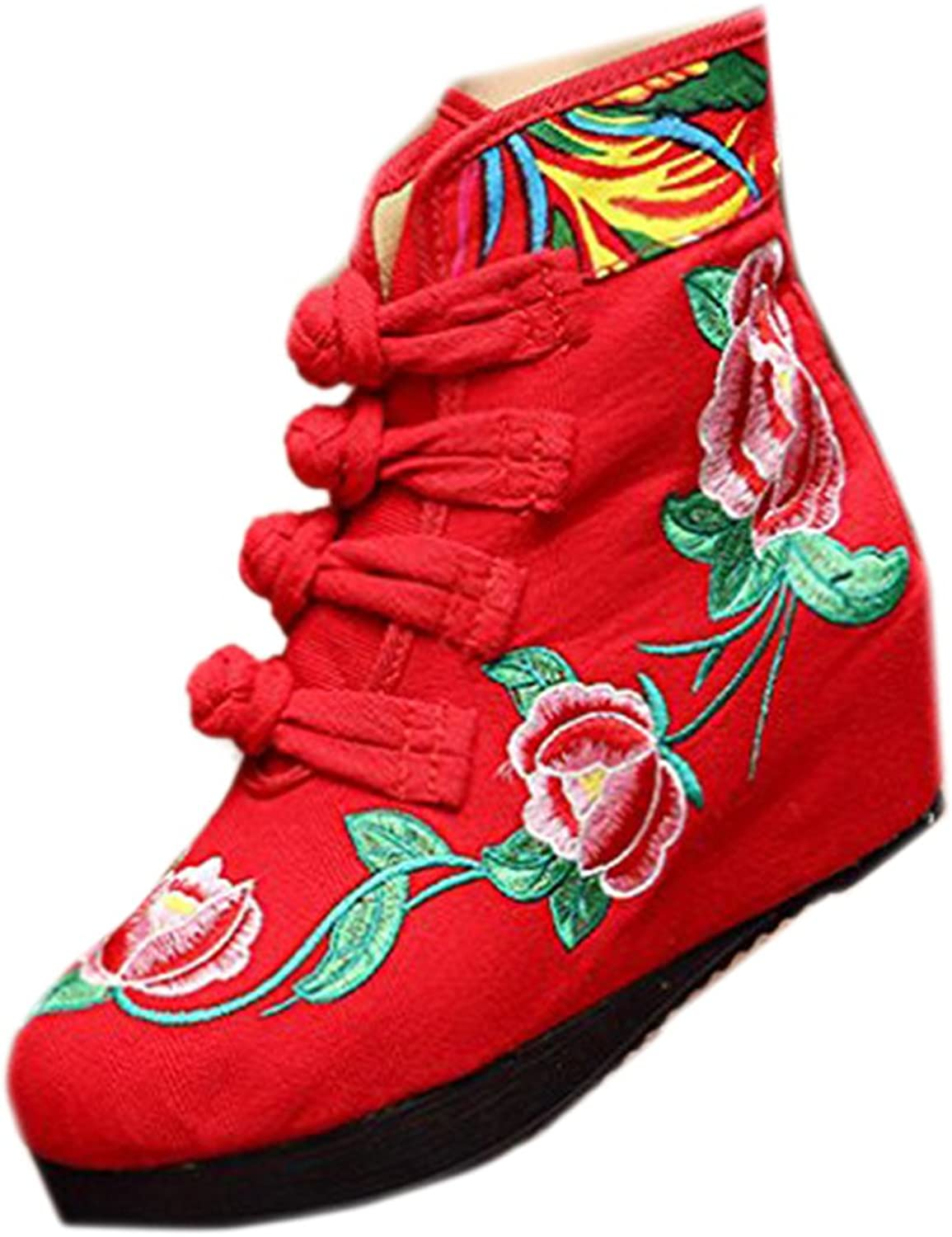 Shenghuajie Four shoeslace Vintage Beijing Cloth shoes Embroidered Boots red with Cotton