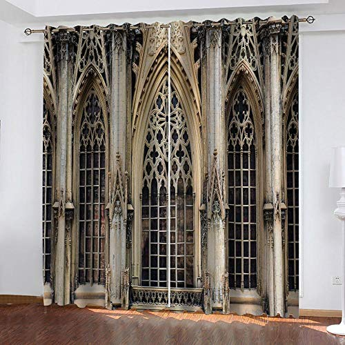 NTBDWOSQ 3D Printed Blackout Curtains Retro Building Iron Gate 220X215 Cm (Wxh) For Kid'S Adult Bedroom Living Room Eyelet Soft Thermal Insulated Decorative Room Darkening Curtains For Nursery