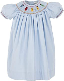 Carriage Boutique Girls Short Sleeve Bishop Blue Dress Smocked with Colored Pencils