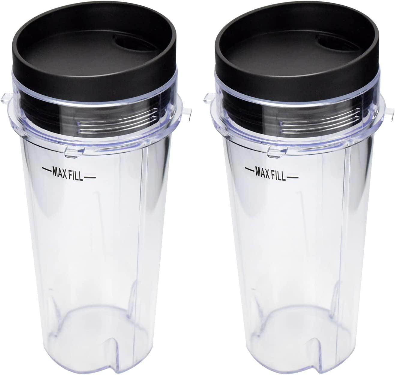 Blender Cup with Lid For Nutri Ninja, Single Serve Replacement Parts Compatible with BL740/BL770/BL771/BL772/BL780/BL660/BL663/BL810/BL820/BL830, Food grade Material, Dishwasher Safe (2Pack, 16 oz)