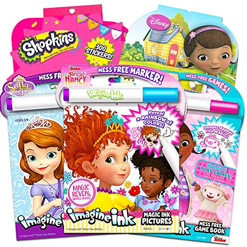 Disney Fancy Nancy Magic Ink Coloring Book Set -- Bundle Includes 3 Junior Imagine Ink Books Featuring Fancy Nancy, Sofia The First, Doc McStuffins with Invisible Ink Pens and 600 Stickers