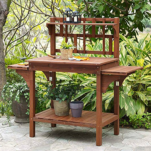Garden Potting Bench with Storage Shelf Wood Outdoor Large Work Table Plans Gardening Planting...