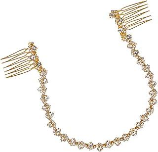 Sarekabride Bridal Headbands Handmade Long Bridal Headdress Pearl Crystal Rhinestone Hair Comb Clip Pin Wedding Headbands ...