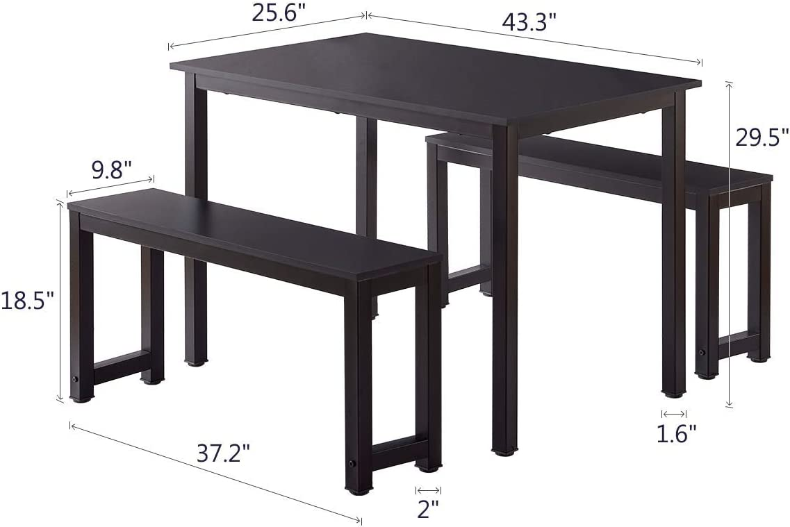 AOOLIVE Dining Table with 2 Benches Kitchen Table Morden Wood Kitchen Home Furniture 3 Pieces Sets Black