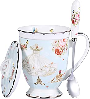 AWHOME Tea Cup and Lid and Spoon Set Royal Fine Bone China Coffee Mug 11oz Light Blue TeaCups