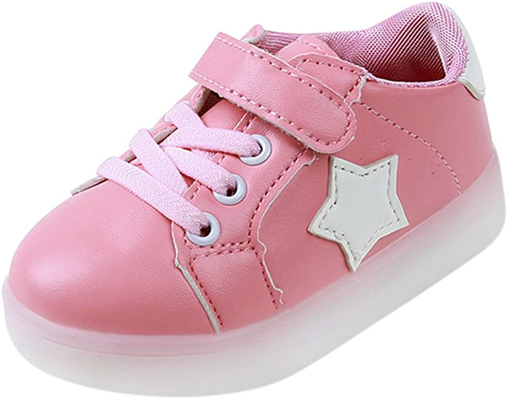 Amiley Baby Fashion Star Sneaker Bling Blimg LED Boston Mall Child Max 65% OFF Luminous