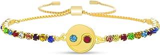 Steve Madden Yellow Gold Plated Rainbow Rhinestone Yin Yang Disc Charm Adjustable Slider Bolo Bracelet for Women
