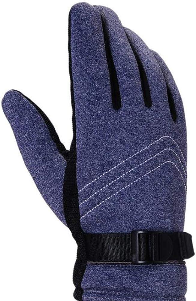 Shanenxn Cold Weather Winter Warm Outdoor Sports Ridding Men's Gloves Cotton Black Gloves Warm (Color : GrayA, Size : OneSize)