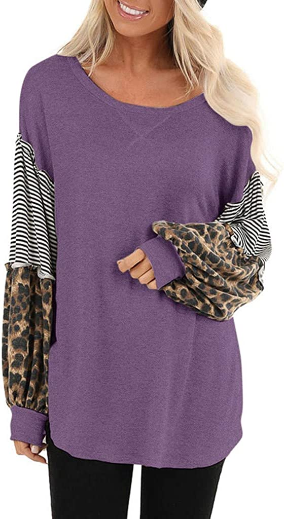 Fastbot women's Leopard Striped Balloon Sleeve Pullover Casual Loose T Shirt Solid Color Block Patchwork Tunic Tops Blouse