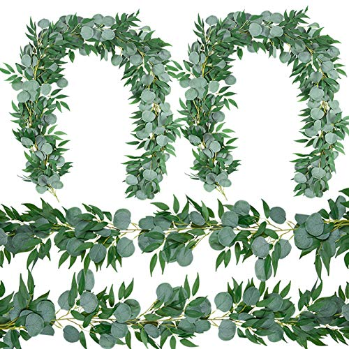 4 Packs 6.5 Feet Artificial Silver Dollar Eucalyptus Leaves Garland with Willow Vines Twigs Leaves String for Doorways Greenery Garland Table Runner Garland Indoor Outdoor.