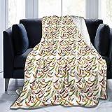 ngxianbaimingj Manta de franela, diseño de pimientos de chile caliente con borde cosido, manta de felpa térmica portátil para cama sofá de 50 x 40 pulgadas
