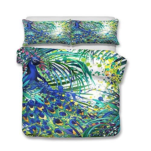 Stillshine Verde Oscuro Juego de Cama 3D Animal Pavo Real Acuarela Funda nórdica y Funda de Almohada Azul Amarillo Flores Plumas Funda nórdica (Estilo 4, 220x240 cm - Cama 135/150 cm)